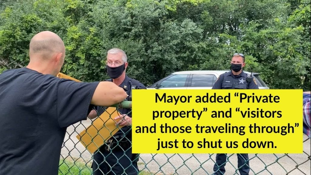 """Mayor added """"Private property""""  and """"visitors and those traveling through"""" just to shut us down."""